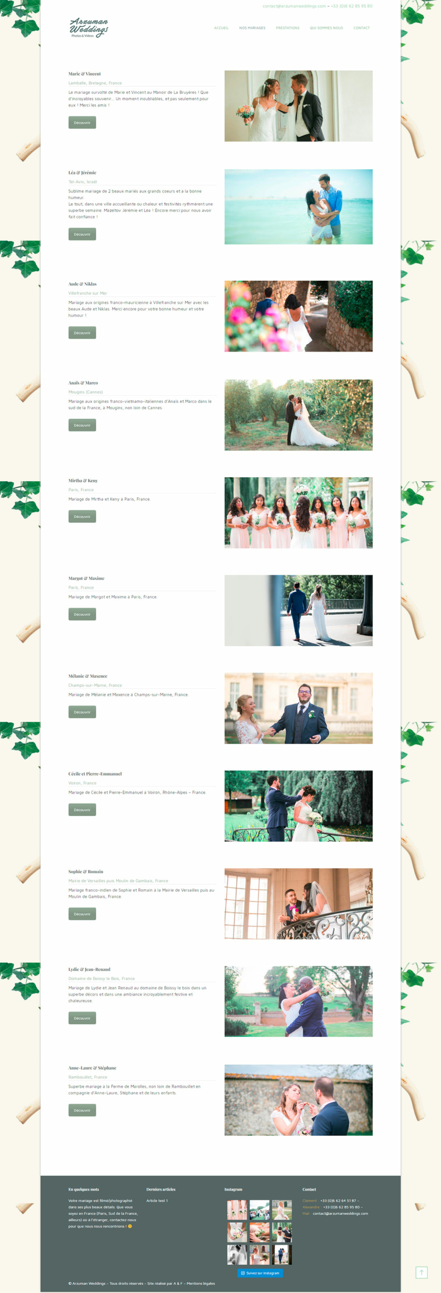 Refonte site web Arzuman Weddings - Laurent Forbault - Webmaster Freelance Paris